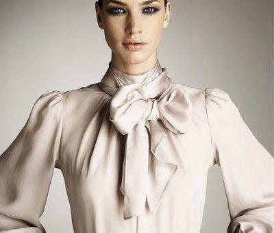 Блузка с панделка на врата. Лятна блуза от шифон. Модели на блузки с панделка